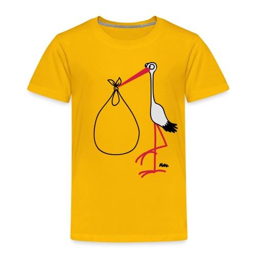 Storch Baby im Bauch  T-Shirt gelb - Kinder Premium T-Shirt