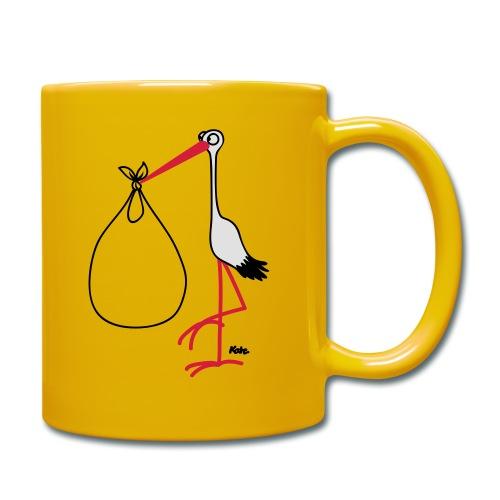 Storch Baby im Bauch  T-Shirt gelb - Tasse einfarbig