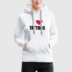 Weiß i love tattoos T-Shirts - Frauen Premium Hoodie