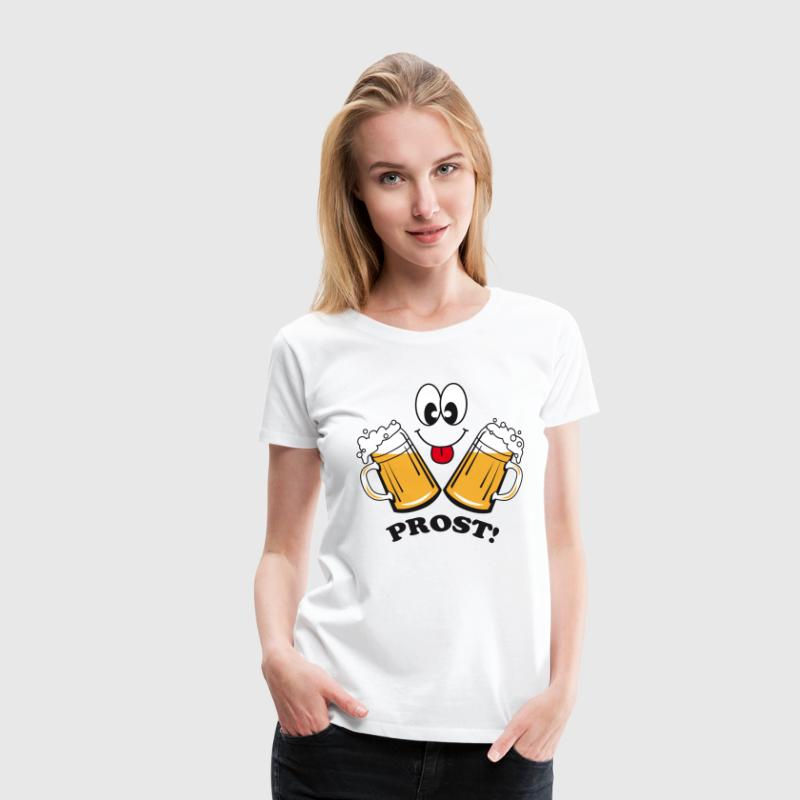 Prost! Witziges Frauen Bier Smiley Party T-Shirt - Frauen Premium T-Shirt