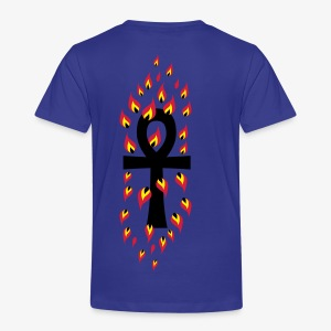 Lebensschüssel key of life Kreuz in Flammen 3c cross Männer T-Shirt royalblau - Kinder Premium T-Shirt