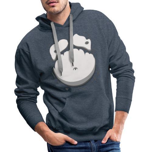 Comic Fat Belly Monotone, beer gut, beer belly, chest t-shirt - Men's Premium Hoodie