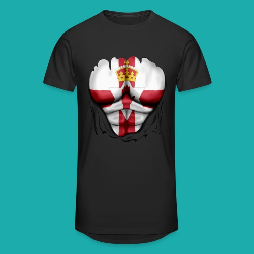 Northern Ireland Flag Ripped Muscles, six pack, chest t-shirt - Men's Long Body Urban Tee