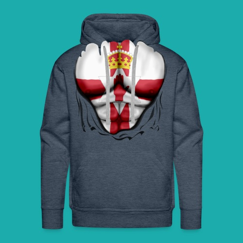 Northern Ireland Flag Ripped Muscles, six pack, chest t-shirt - Men's Premium Hoodie