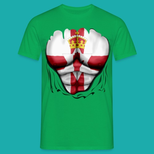 Northern Ireland Flag Ripped Muscles, six pack, chest t-shirt - Men's T-Shirt