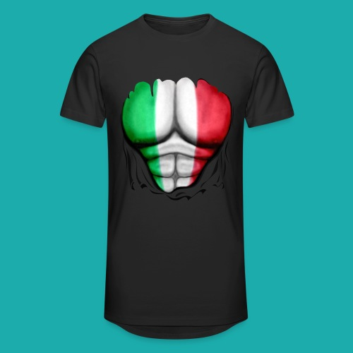 Mexico Flag Ripped Muscles, six pack, chest t-shirt - Men's Long Body Urban Tee