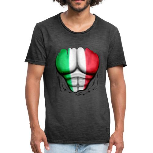 Mexico Flag Ripped Muscles, six pack, chest t-shirt - Men's Vintage T-Shirt