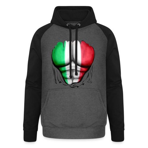 Mexico Flag Ripped Muscles, six pack, chest t-shirt - Unisex Baseball Hoodie