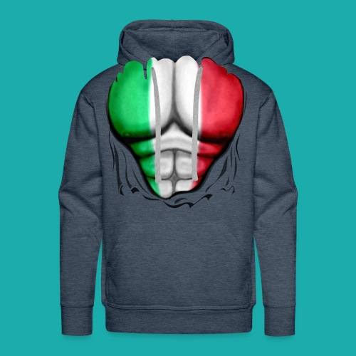 Mexico Flag Ripped Muscles, six pack, chest t-shirt - Men's Premium Hoodie