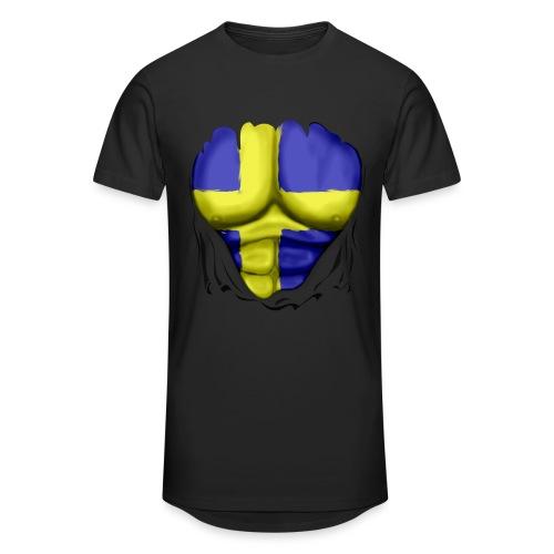 Sweden Flag Ripped Muscles, six pack, chest t-shirt - Men's Long Body Urban Tee