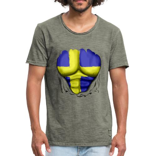 Sweden Flag Ripped Muscles, six pack, chest t-shirt - Men's Vintage T-Shirt