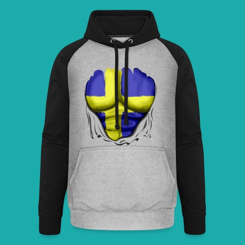 Sweden Flag Ripped Muscles, six pack, chest t-shirt - Unisex Baseball Hoodie