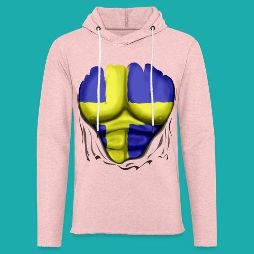 Sweden Flag Ripped Muscles, six pack, chest t-shirt - Light Unisex Sweatshirt Hoodie