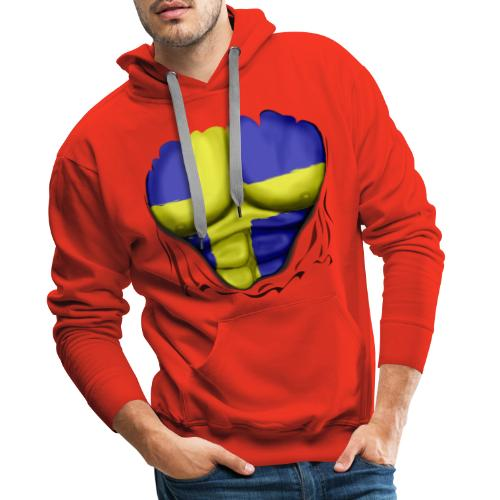 Sweden Flag Ripped Muscles, six pack, chest t-shirt - Men's Premium Hoodie