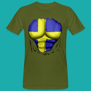 Sweden Flag Ripped Muscles, six pack, chest t-shirt - Men's Organic T-shirt
