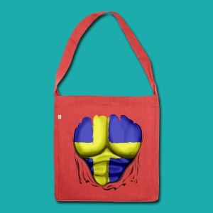 Sweden Flag Ripped Muscles, six pack, chest t-shirt - Shoulder Bag made from recycled material