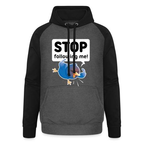 Stop following me (voorkant) - Unisex baseball hoodie