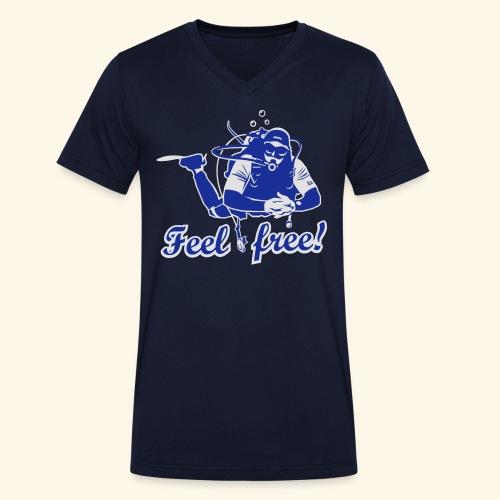 Feel free!, bicolor - Männer Bio-T-Shirt mit V-Ausschnitt von Stanley & Stella