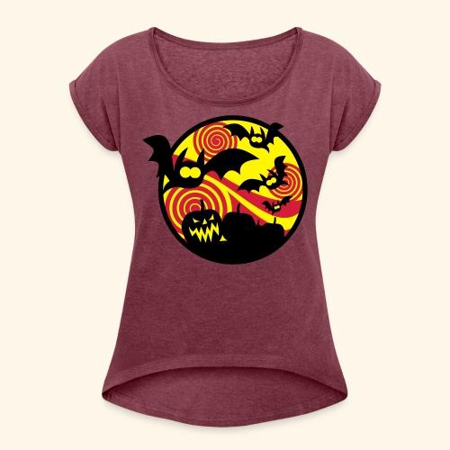 Fledermäuse & Kürbisse, Biggie - Frauen T-Shirt mit gerollten Ärmeln