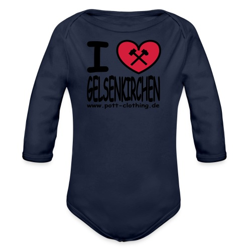 I love Gelsenkrichen - Hammer & Schlägel by Ruhrpott Clothing - T-Shirt klassisch - Baby Bio-Langarm-Body