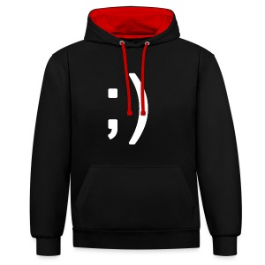 Winking smiley face in text - Contrast Colour Hoodie
