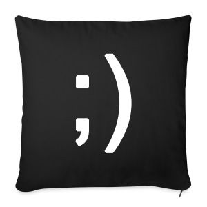 Winking smiley face in text - Sofa pillow cover 44 x 44 cm