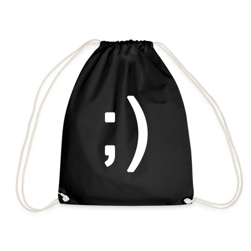 Winking smiley face in text - Drawstring Bag