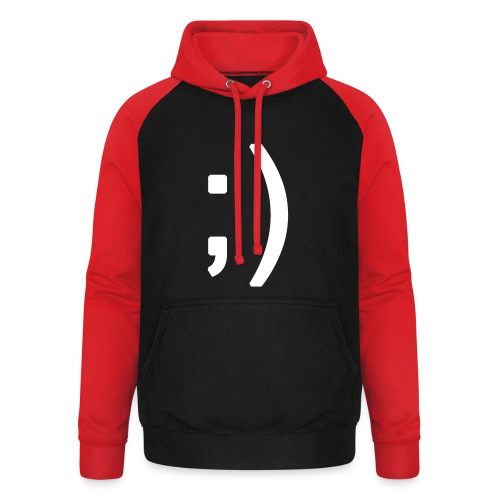 Winking smiley face in text - Unisex Baseball Hoodie