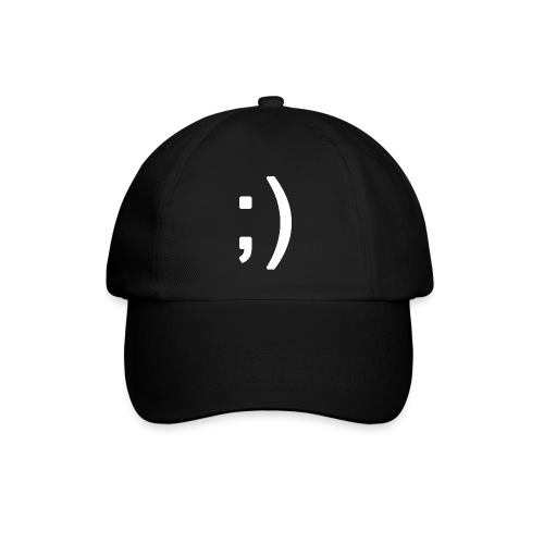 Winking smiley face in text - Baseball Cap