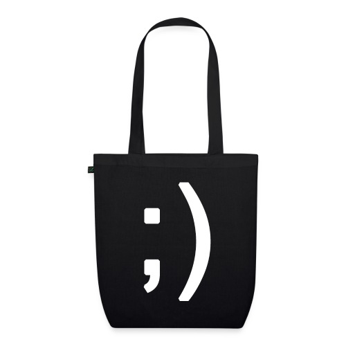 Winking smiley face in text - EarthPositive Tote Bag