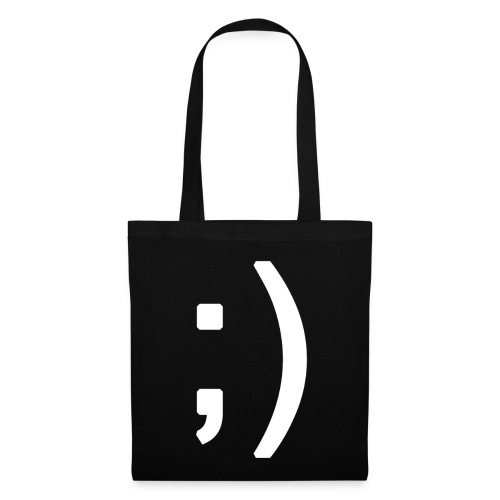 Winking smiley face in text - Tote Bag