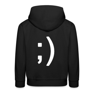 Winking smiley face in text - Kids' Premium Hoodie