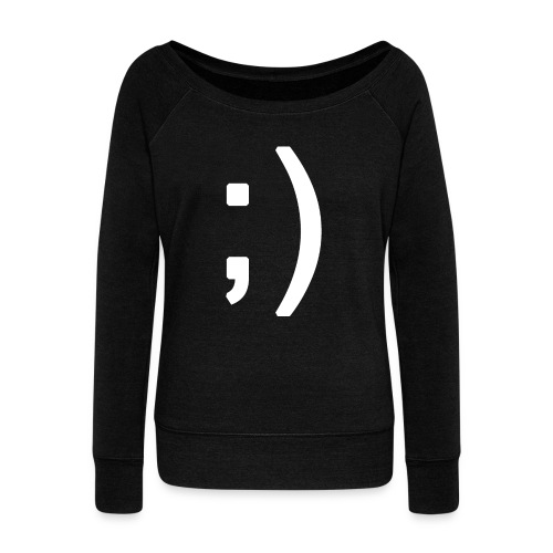 Winking smiley face in text - Women's Boat Neck Long Sleeve Top