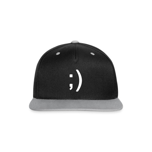 Winking smiley face in text - Contrast Snapback Cap