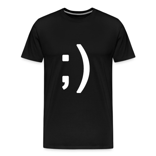 Winking smiley face in text - Men's Premium T-Shirt