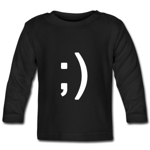 Winking smiley face in text - Baby Long Sleeve T-Shirt