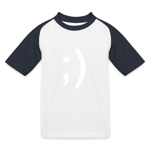 Winking smiley face in text - Kids' Baseball T-Shirt