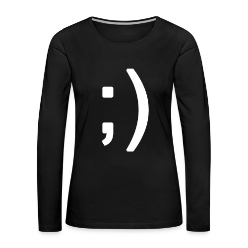 Winking smiley face in text - Women's Premium Longsleeve Shirt