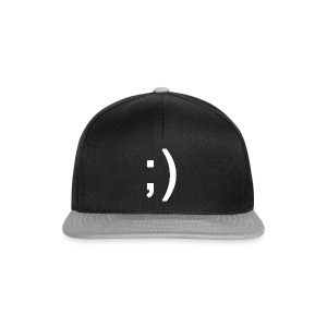 Winking smiley face in text - Snapback Cap