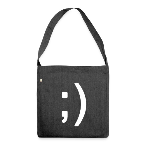 Winking smiley face in text - Shoulder Bag made from recycled material