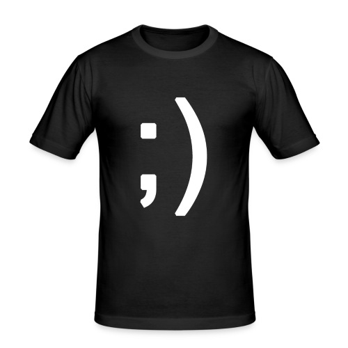 Winking smiley face in text - Men's Slim Fit T-Shirt