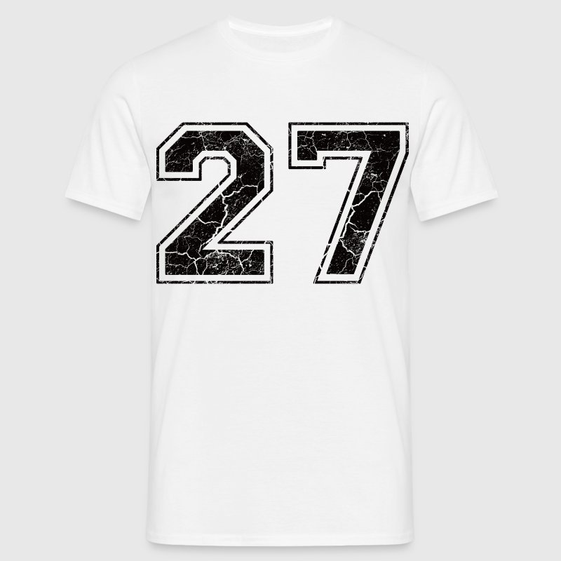 Nummer 27 met Used Look T-shirts - Mannen T-shirt