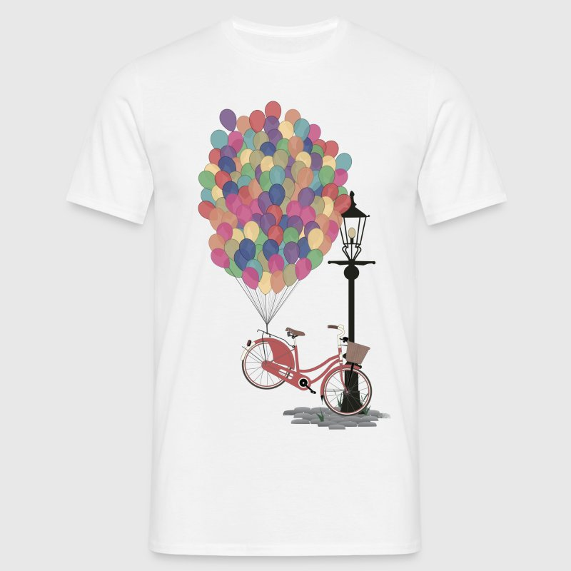 Blanc Love to Ride my Bike with Balloons Tee shirts - T-shirt Homme