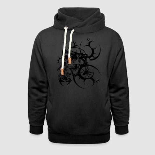Herren Totenkopf T-Shirt - Schalkragen Hoodie