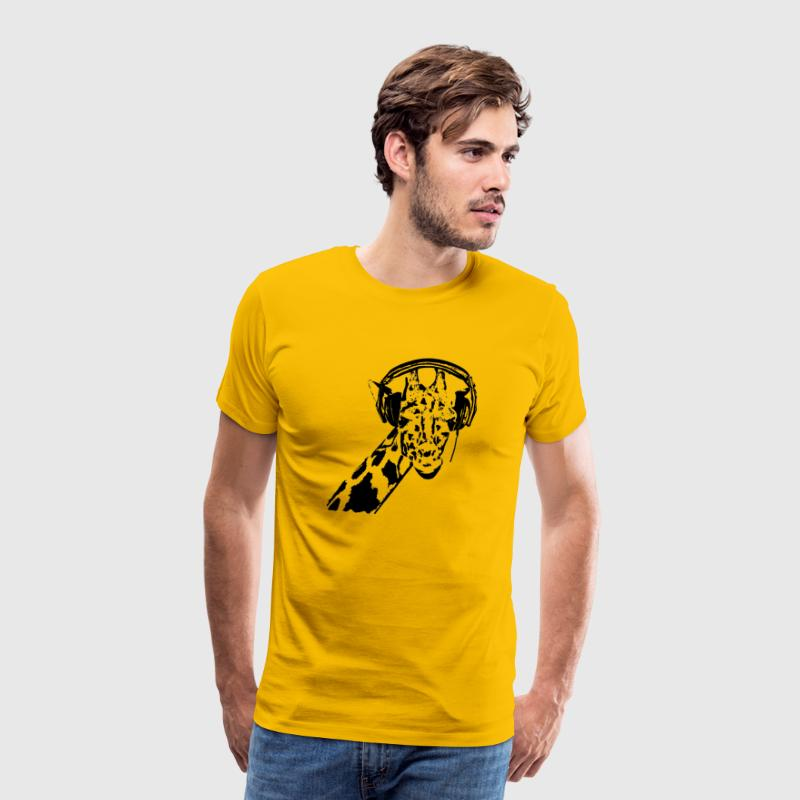 giraffe with headphones - Men's Premium T-Shirt