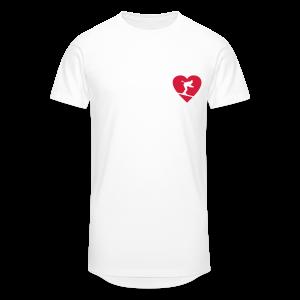I love Skiing Skifahrer T-Shirt (Weiß/Herren) - Männer Urban Longshirt