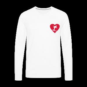 I love Skiing Skifahrer T-Shirt (Weiß/Herren) - Männer Premium Langarmshirt