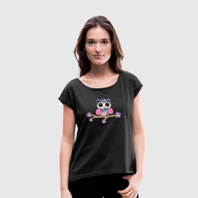 Owl, Rose T-Shirts - Women's T-shirt with rolled up sleeves