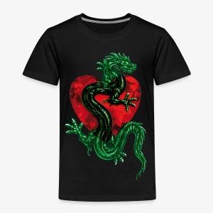 Drache im Herzen / Dragon in the Heart Tattoo Männer Shirt - Kinder Premium T-Shirt