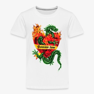 Passion Love - Tatoo Drache / Herz Flammen / Dragon in the Fire Heart Tattoo Männer Kapuzenpullover - Kinder Premium T-Shirt